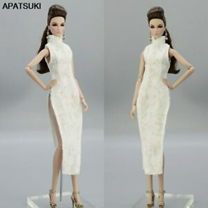 High Quality White Lace Fashion Doll Clothes Chinese Qipao Dress For 11.5in Doll