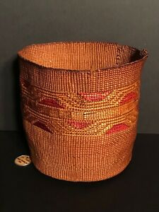 STUNNING TLINGIT SPRUCE ROOT BASKET W/ OLD COLLECTION TAG,GREAT COLORS,C1880,NR!