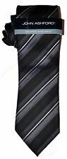 NEW Mens Tie Necktie Black Gray Silver Diagonal Stripe by John Ashford T1542