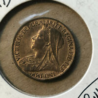 1901 Great Britain 1 Farthing Coin Red UNC Condition