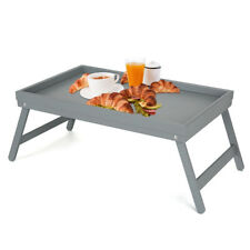 GREY  BAMBOO WOODEN BREAKFAST SERVING LAP TRAY OVER BED TABLE WITH  FOLDING LEGS