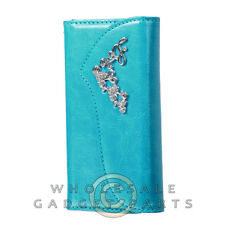 Apple iPhone 6/6s Jewel Wallet Pouch Blue with Silver Heart  Guard Shell Shield