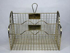 Vintage Gold Brass Tone Wire Metal Retro Mail Holder Letters IN / OUT Desk