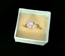 10K Gold Ring with Genuine Amethyst Setting and Small Diamonds
