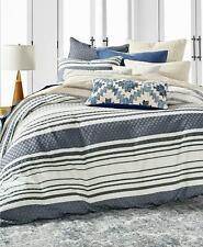 Lucky Brand Stripe Bed Cotton 3 Pc Full/Queen Duvet Cover Set Navy $270