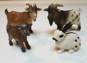 SCLEICH RETIRED Farm Set, Pygmy Goats & Rabbit '04 '96 '05 13121, 13601, 13602
