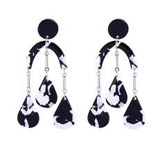 KISS ME Silver Bohemian Mottled Black White Acrylic Chic Drop Earrings ed01826c