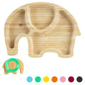 Children's Bamboo Elephant Plate with Suction Cup Eco-friendly 24cm Green
