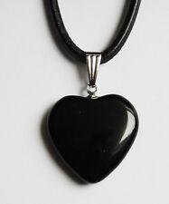 Edelstein-Anhänger mit Metallöse, Herz, Onyx, 20 mm