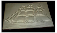 Cool 3 masted schooner   Tile Slump Fusing stained glass kiln mold