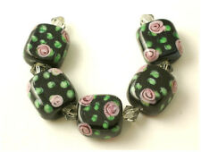 24 Handmade Lampwork Glass Rectangular Beads ROSE