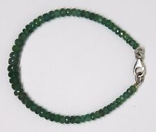 100% Natural Emerald Faceted Roundel Gemstone Bead Bracelet 925 Silver Clasp S3