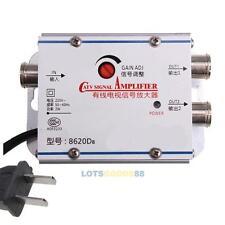 2 Way CATV VCR TV Antenna Signal Amplifier Booster Splitter 20DB 45-860MHz 220V