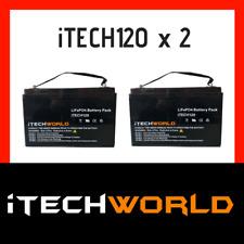 2x 12V 120ah Lithium LiFePo4 Deep Cycle recharge Battery Solar 4WD Caravan RV