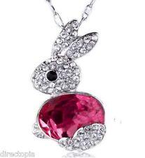 Crystal Bunny Rabbit Pendant Necklace Blue Pink Jewellery & Mini Gift Bag