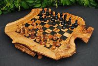Schach Schachbrett Schachspiel Schachtisch aus Olivenholz Schach-Set mit Figuren