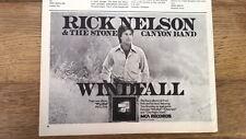 RICK NELSON Windfall UK magazine ADVERT / Poster 8x6 inches
