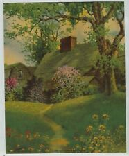 """1935 Cottage Print In a Field Of Flowers Titled """"The Old Fairbanks Home"""""""