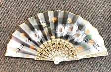 """Vintage Japanese Hand Fan """"Mother Of Pearl� Inlay"""
