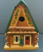 "Log Cabin Wood Birdhouse Handmade with Window Door Painted 2005 13"" x 10"" x 10"""