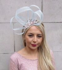 Rose Gold Opal Duck Egg Light Blue Silver Sinamay Fascinator Headband Races 4531