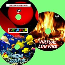 VIRTUAL AQUARIUM, LOG FIRE +LAVA LAMP 3 GREAT DVDs FOR FLAT SCREEN TV/PC Etc NEW