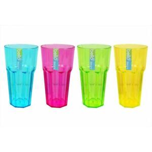 SET OF 4 Plastic Tumblers Glasses Cups Set Reusable BBQ Picnic Party Home