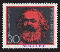 """BUNDESREPUBLIK DEUTSCHLAND 558** mit Aufdruck """"Muster"""" 150. GEBURTSTAG KARL MARX"""
