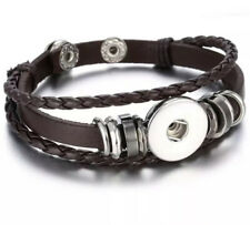 Triple Strand Brown Braided Leather Snap Button Charm Bracelet ~