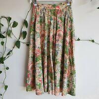 Vintage 70s-80s Soft Pink Floral Midi Skirt XS Pockets Cotton/Linen A-line Green