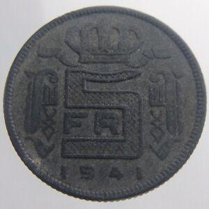 1941 Belgium 5 Francs KM# 130 Zinc Leopold III Circulated Coin V366