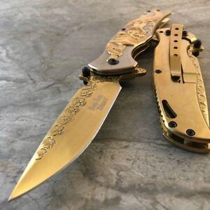 """8"""" TITANIUM Coated SKULLS Blade DRAGON Handle Spring Assisted Open Pocket Knife"""