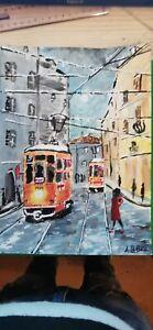 Quadro Tram Milano neve Tecnica Mista 21x30 Dipinto a mano