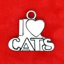 2 x Tibetan Silver I Love Cats Large Charm Pendant Jewelry Making Craft