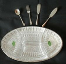 GLASS AND SILVER METAL HORS D'OEUVRES SERVER 4 Glass Compartments EP Server