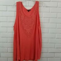 Cable & Gauge Womens Size 3x Sleeveless Tunic Tank Top Coral Orange