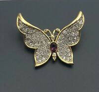 Unique vintage Butterfly Brooch Pin gold tone metal with crystals