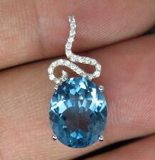 SOLID 14Kt WHITE GOLD NATURAL GORGEOUS Blue Topaz DIAMOND WEDDING PENDANT