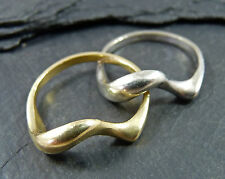 Vintage 18ct White & Yellow Gold Interlinked Ring - Double / Crossover Band
