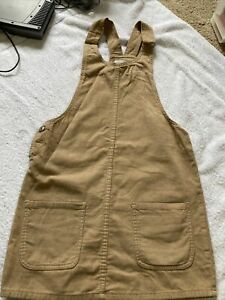 Primark Denim Co Beige Corduroy Cord Pinafore Dungaree Dress Size 8