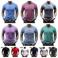 Men's V- Neck T-Shirt Slim Soft Fashion Basic Plain Casual Sports Active Gym tee
