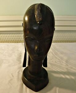 COOL VINTAGE AFRICAN TRIBAL BUST CARVED WOOD FEMALE GOOD PATINA 7 1/4 INCH HIGH