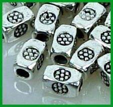 20 Antique Silver Pewter Imprint Tube Cuboid Beads 6x4mm