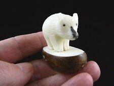 (TNE-BEAR-170A) White Polar BABY BEAR CUB TAGUA NUT Figurine carving Vegetable