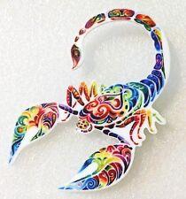Scorpion Scorpio Zodiac Astrology Large Multicolor Acrylic Pin Brooch Jewelry
