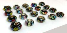 20 Pcs Black, Multi-color Big Hole Glass Beads Fit Pandor European Bracelet