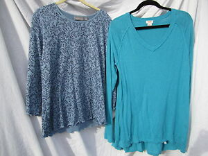 LOT of 2 Ladies Tops Croft & Barrow & Mossimo BLUE Sweater Long Sleeves XL