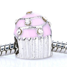 925 Silver Cup cake CZ Crystal Enamel Spacer Charm Bead Fit Bracelet Necklace