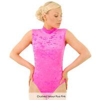 Nuevo leotardo gymnastics//dance//ballet Rosa Brillante Lycra polo//turtle Cuello chicas del Reino Unido