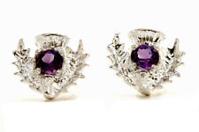 Sterling Silver Amethyst Scottish Thistle Stud earrings Gift Boxed Made in UK